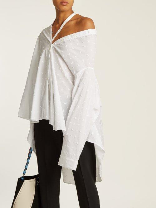 Off-the-shoulder flocked cotton-blend shirt by Palmer/Harding