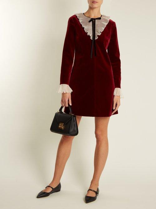 Tie-neck ruffled velvet mini dress by Redvalentino