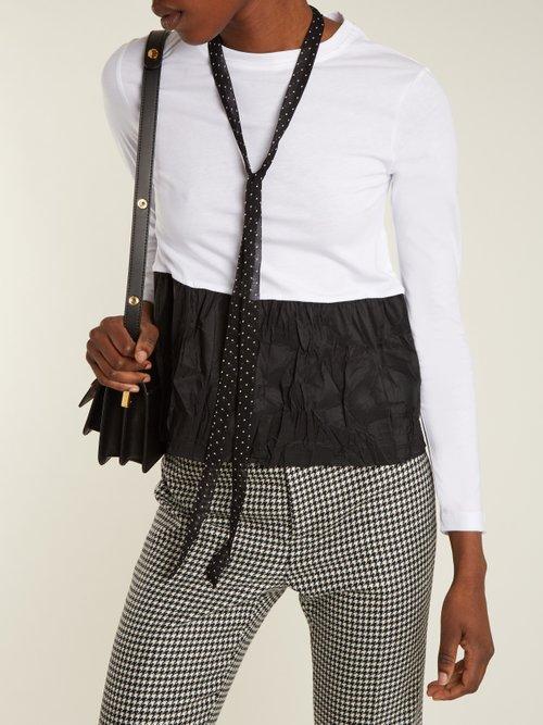 Tie-neck contrasting-hem cotton top by Redvalentino