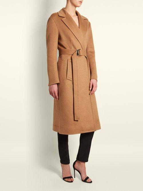 Notch Lapel Tie Waist Wool Coat by Calvin Klein 205W39Nyc