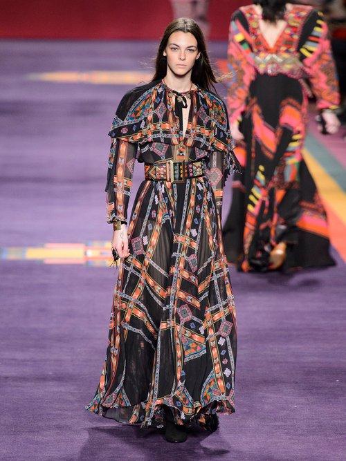 Makalu geometric-print pleated chiffon gown by Etro