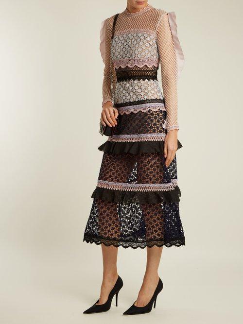 Bellis lace contrast-panel tiered dress by Self-Portrait
