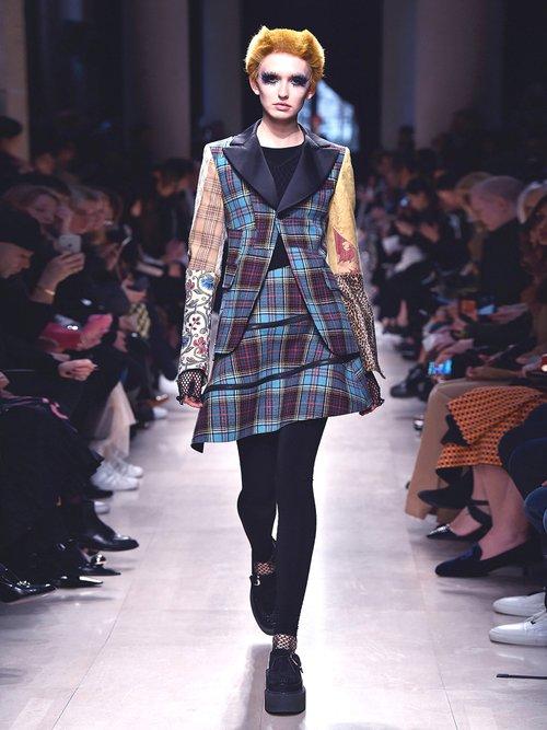Photo of Tartan Checked Contrast Sleeve Wool Blend Jacket by Junya Watanabe - shop Junya Watanabe jackets and coats sales