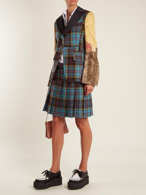 Tartan-checked contrast-sleeve wool-blend jacket by Junya Watanabe