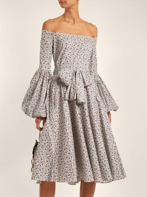 Gisele floral-print cotton-blend dress by Caroline Constas