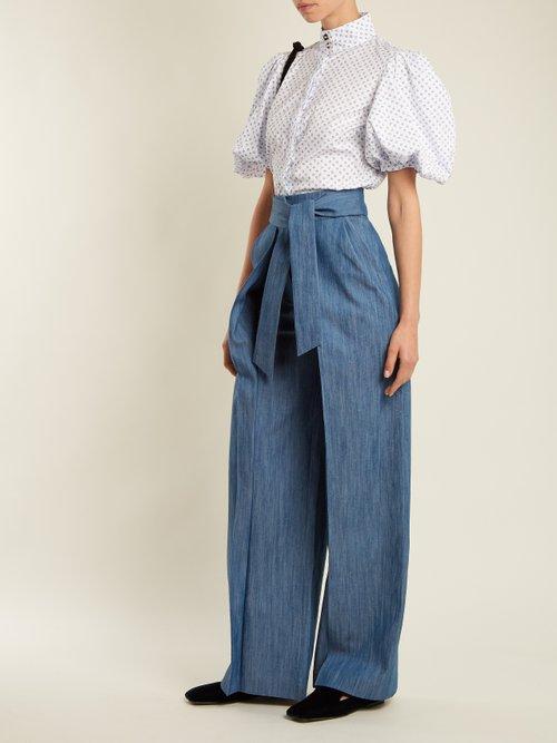 Daisy micro floral-print cotton-blend shirt by Caroline Constas