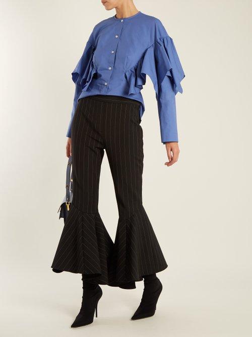 Collarless ruffled cotton shirt by Sara Battaglia