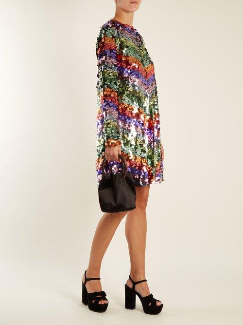 Chevron-striped sequin-embellished mini dress by Sara Battaglia