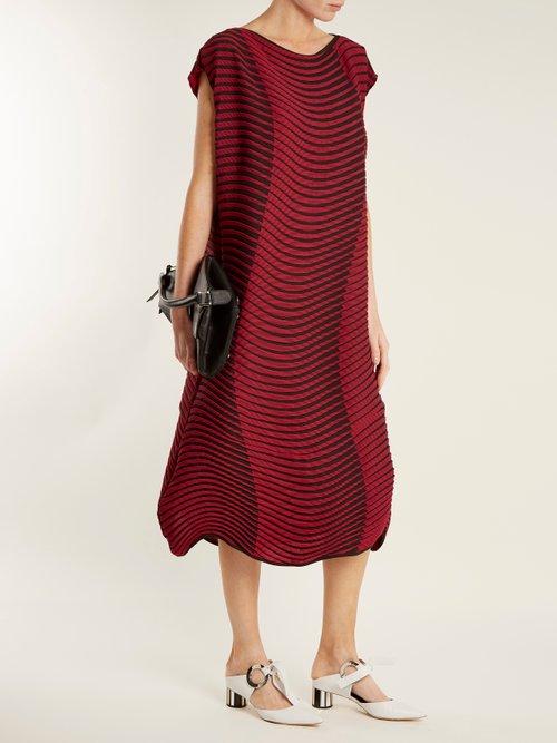 Plasma 2 wave striped-print pleated dress by Issey Miyake