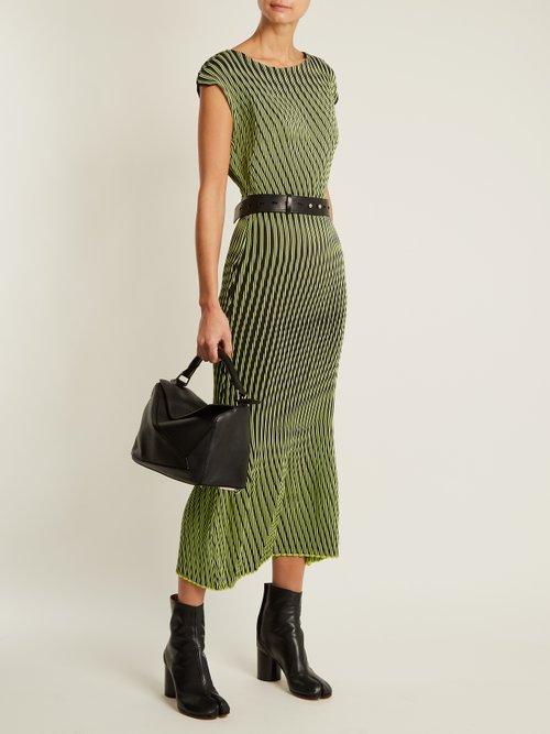 Plasma 1 waved stripe-pleated midi dress by Issey Miyake