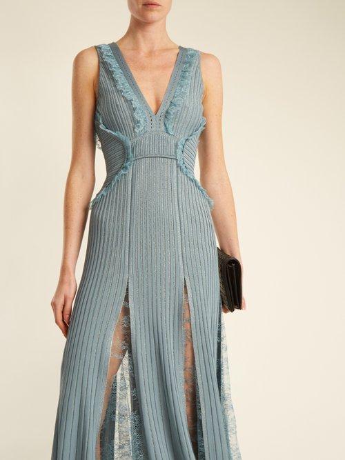 Deep-V neck ribbed-knit midi dress by Elie Saab