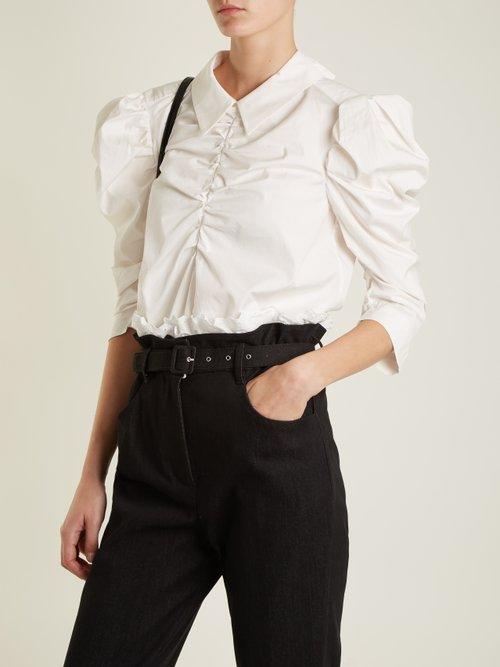 Point-collar gathered cotton top by Isa Arfen