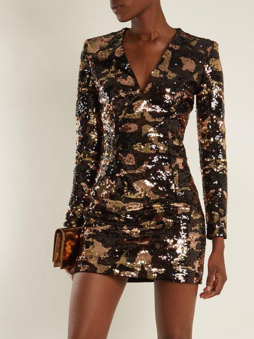 Deep V-neck sequin mini dress by Balmain