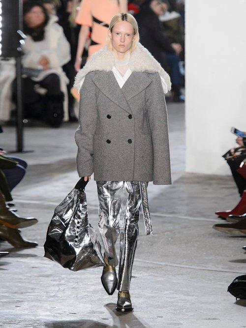 Faux Fur Trimmed Detachable Collar Wool Coat by Proenza Schouler