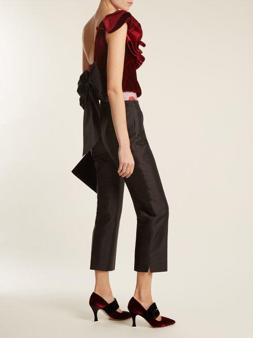Lorca one-shoulder velvet and jersey bodysuit by Johanna Ortiz