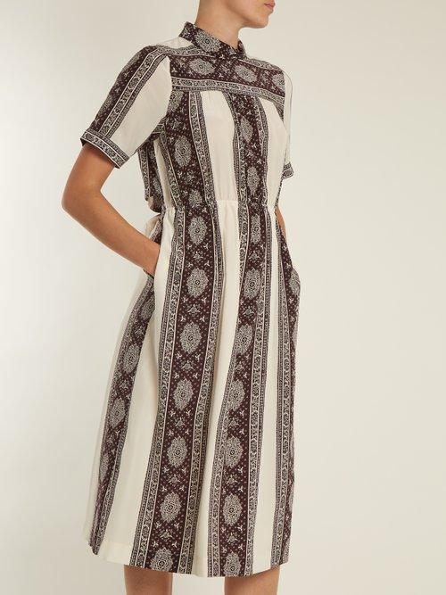 Sonia striped-paisley print silk dress by Sea