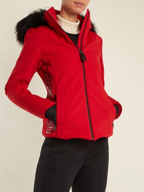 Logo Print Fur Trimmed Ski Jacket by Fendi