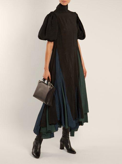 Balloon-sleeved asymmetric-hem dress by Loewe