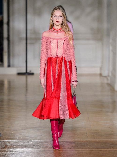 Ruffled high-neck cotton-organdy dress by Valentino