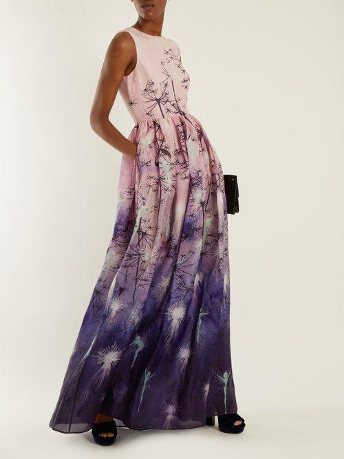 Shaw sleeveless fairy-print silk gown by Mary Katrantzou