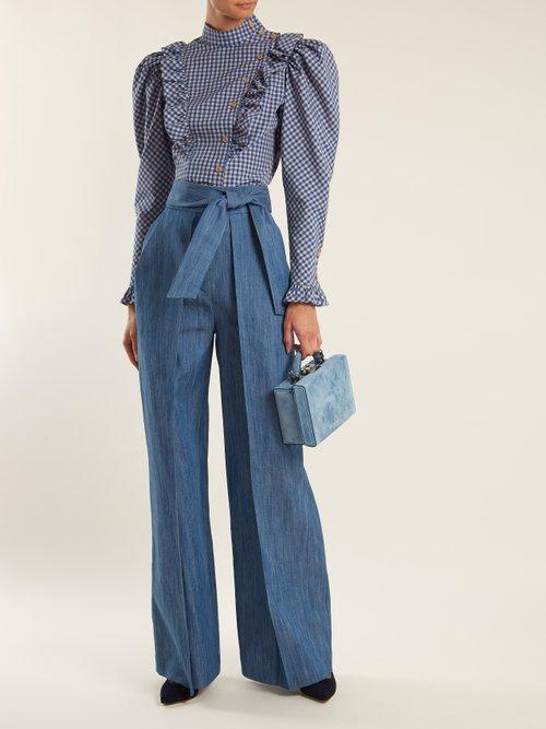High-neck ruffle-trimmed gingham blouse by Vika Gazinskaya