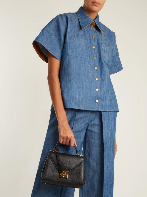 Short-sleeved box-cut denim shirt by Vika Gazinskaya
