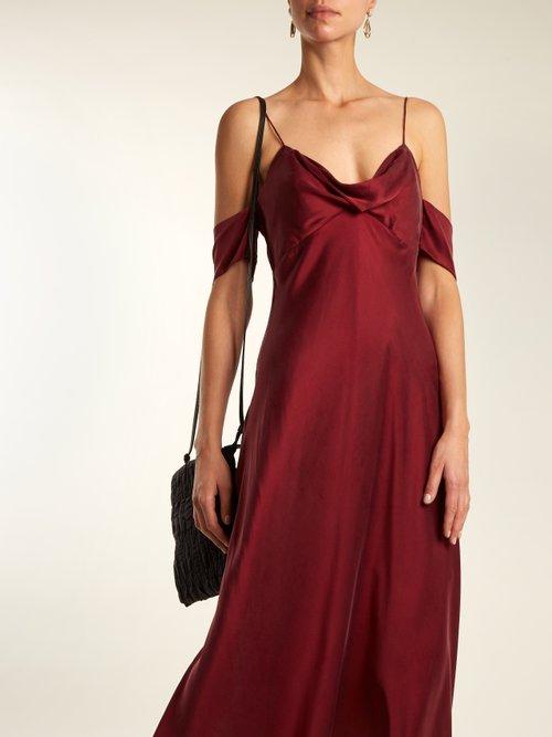 Shop Zimmermann Draped cut-out shoulder silk slip dress online sale