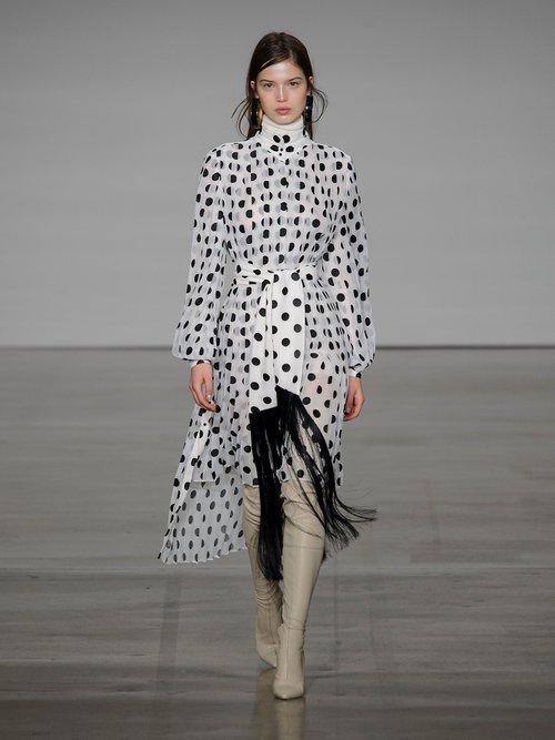 Rife high-neck pleated polka-dot dress by Zimmermann