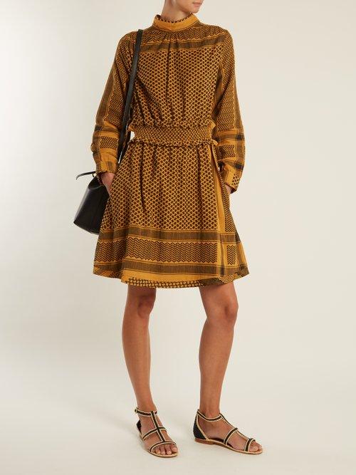 Mieka high-neck scarf-jacquard cotton dress by Cecilie Copenhagen