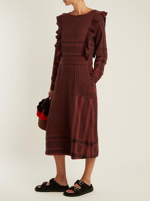 Ruffle-detail scarf-jacquard cotton midi dress by Cecilie Copenhagen