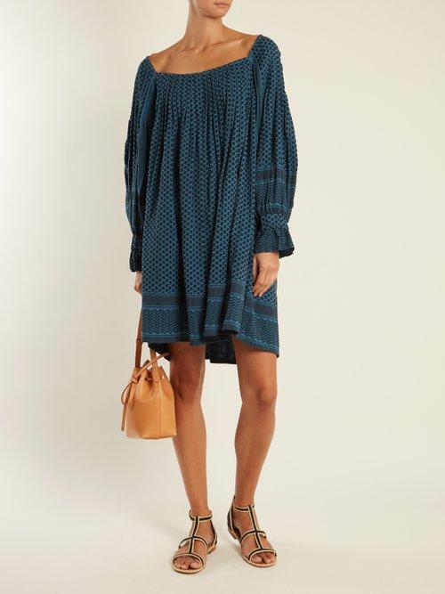 Square-neck scarf-jacquard cotton dress by Cecilie Copenhagen