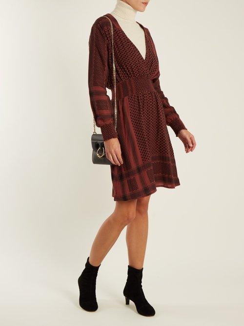 Zoetic V-neck scarf-jacquard cotton dress by Cecilie Copenhagen
