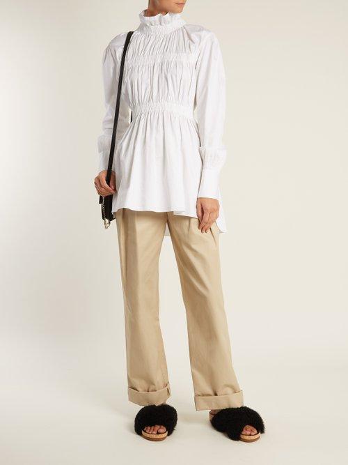 Ruffled-collar cotton-poplin shirt by Teija
