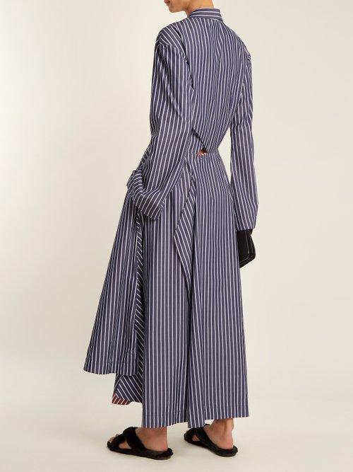 Point collar striped cotton dress by Teija