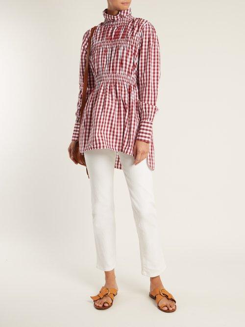 Ruffled-collar cotton-gingham shirt by Teija