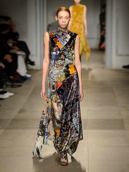 Reza floral-print velvet gown by Erdem