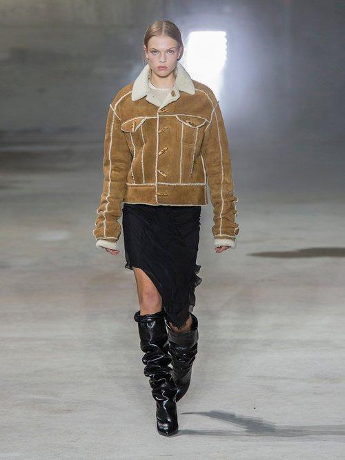 Contrast Trim Shearling Jacket by Saint Laurent