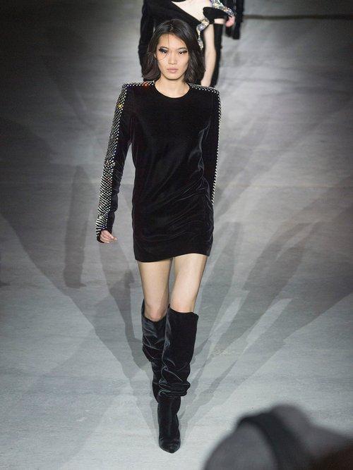 Crystal-embellished square-shoulder velvet dress by Saint Laurent