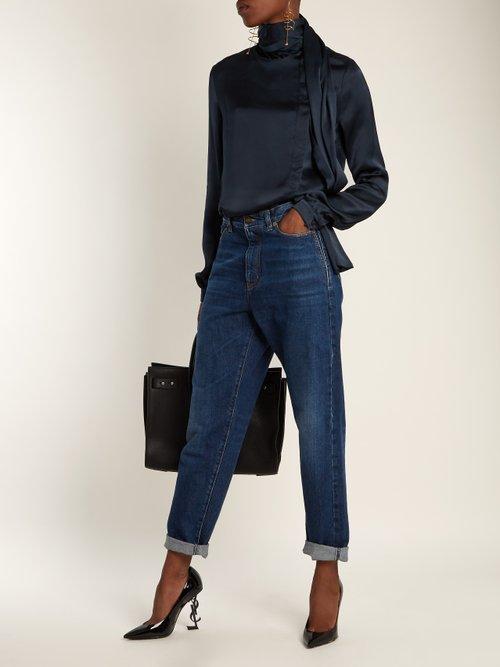 Scarf-detail satin blouse by Saint Laurent
