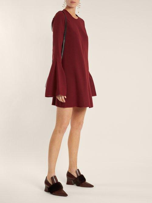 Preacher bell-sleeved crepe dress by Ellery