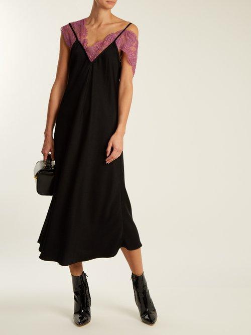 Boorzhwah lace-trimmed V-neck slip dress by Ellery