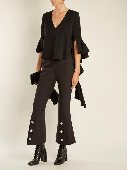 Reverberation V-neck cady blouse by Ellery