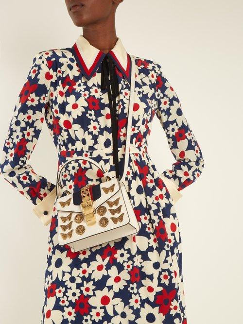 Sylvie mini embellished leather shoulder bag by Gucci