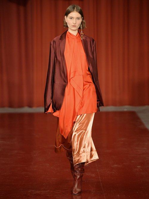 Akano Draped Front Silk Satin Top by Roksanda