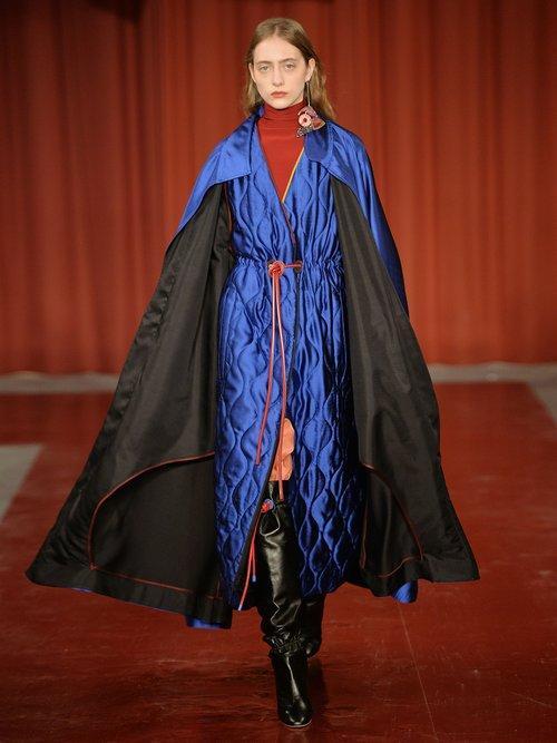 Karel High Neck Wool Blend Coat by Roksanda