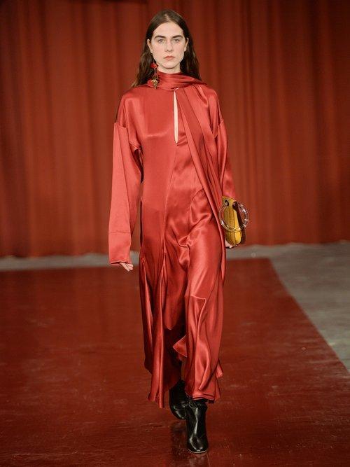 Alida tie-neck crinkle silk-satin dress by Roksanda