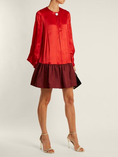 Katra bi-colour satin dress by Roksanda