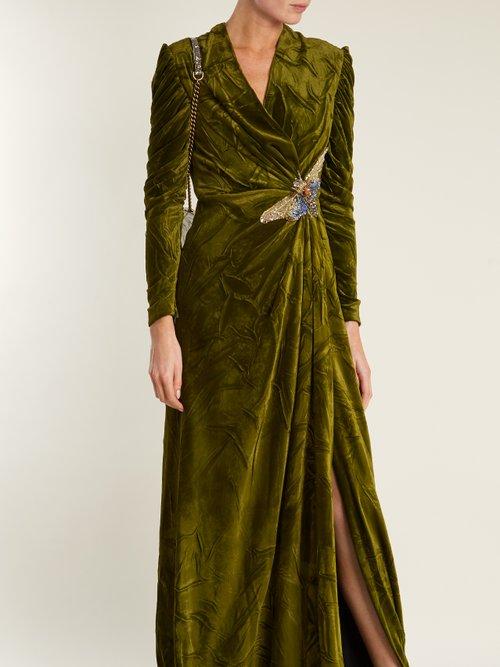 V-neck embellished velvet gown by Gucci
