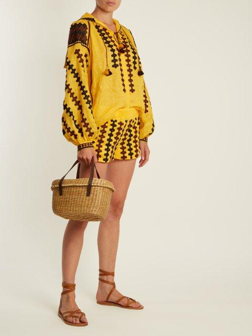 Riverbank embroidered lightweight linen blouse by Vita Kin