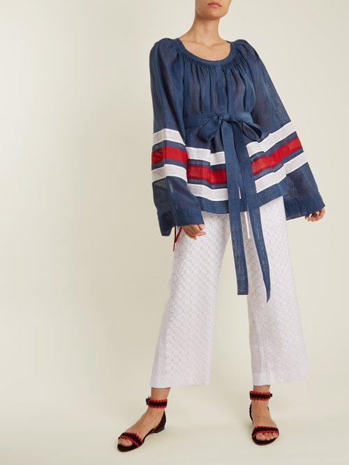 Maldives striped lightweight linen blouse by Vita Kin